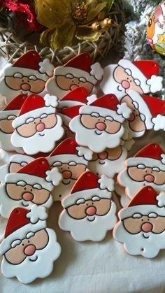 ceramica come mestiere: Allegre facce di Babbo Natale, biscotto pan di zen...