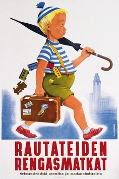 Finland travel poster, Finnish Railways He makes me smile :) Tourism Poster, Poster Ads, New Poster, Poster Prints, Kitsch, Finland Travel, Train Posters, Train Art, Vintage Travel Posters