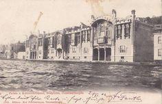 """Nazime Sultan Yalısı, Kuruçeşme..(1906) Abdülaziz'in kızlarından biri olan Nazime Sultan için 1897 yılında o zamanlar İstanbul Boğazı'nda hiç görülmemiş """"avant-garde"""" bir çizgide saray inşa edildi. Daha sonraları Bebek Mısır Konsolosluğunda da görülen """"Art Nouveau"""" etkileşimli yalı İtalyan mimar Raimondo D'Aronco tarafından tasarlanmış."""