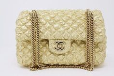 a06c34417c0ec2 Rare Limited Edition CHANEL 08C Gold Double Flap Handbag at Rice and Beans  Vintage Vintage Chanel