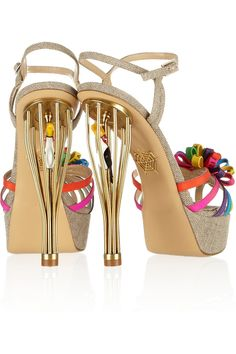 Charlotte Olympia Birds Of Paradise Canvas Sandals in Multicolor (Gold) | Lyst