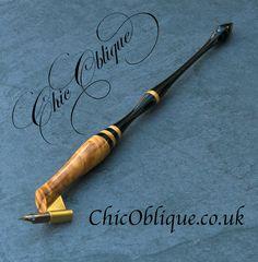 Oblique Pen Holder from Chic Oblique, Buckeye Burl & Ebony Tail Copperplate Calligraphy, Calligraphy Pens, Penmanship, Pen Designs, Calligraphy Supplies, Buckeye Burl, Dip Pen, Pen Nib, Flourishes