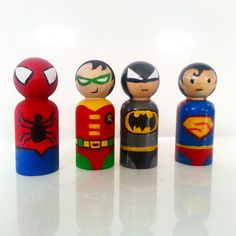 One superhero inspired wooden peg doll by somethingcutedesigns
