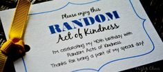 Birthday Random Acts of Kindness Ideas & Free Tag Downloads