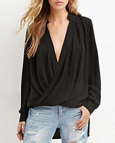 Cross v neck shirt for women plain draped blouse high low design