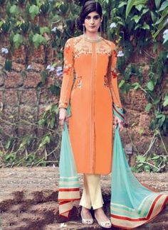 Buy Orange Beige Embroidery Work Designer Cotton Satin Pakistani Suit http://www.angelnx.com/Salwar-Kameez/Pakistani-Suits