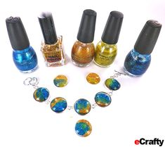DIY Nail Polish Jewelry Faux Dichroic Technique tutorial from www.eCrafty.com #ecrafty CLICK for ILLUSTRATED TUTORIAL If you can paint your nails, you can make this gorgeous faux dichro glass dome bracelet with just one of our kits and your own nail polish! #diycrafts #nailpolishjewelry #diygifts #diyjewelry #glassdomejewelry #freejewelryprojects #ecrafty
