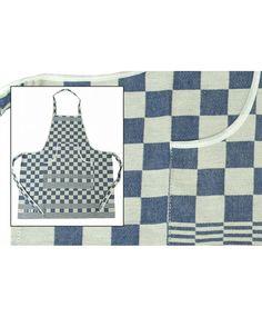 """""""Elias Pompdoek-schort (blauw) Het blauwe Pompdoek schort van Elias is keukentextiel van hoogwaardige kwaliteit.   Het ingeweven pompdoekdessin en de prachtige kleurstellingen maken het schort een luxe die in elke keuken past. Het keukenschort is voorzien van een moderne snit en is ook als sloof te dragen door eenvoudig de flap terug te slaan."""""""