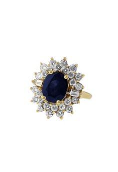 14K Yellow Gold Blue Sapphire & Diamond Ring