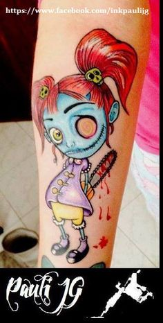 zombie new school Tattoo small version of my mom and she does the same but a version of me because we love each other and zombies on my right inner fore arm