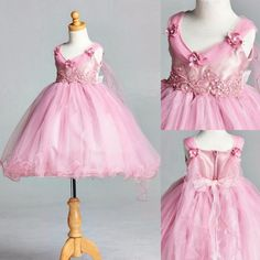 Dusty Rose Wing Flower Girl Dress Wedding Birthday Recital Pageant ALL SIZES #48 #ForeverMyPrincess #Dress #DressyEverydayHolidayPageantWedding