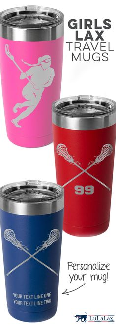 Our favorite lacrosse double-insulated travel mugs come in so many fun new colors! Personalize yours for a great gift idea for a player, coach, or team!