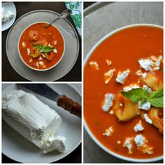 Roasted Tomato and Pepper Tortellini Soup with Chèvre