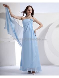 Satin and Chiffon Strapless Ankle-Length Column Bridesmaid Dress with Flower