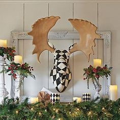 Harlequin Moose Head  Harlequin Moose Head (141846) $249.00 5 out of 5 1 review | Write a review |  Questions & Answers  Put a fabulous new face on your holiday decorating with our life-size Harlequin Moose Head. Designers are wild about nature-inspired touches, and what ...
