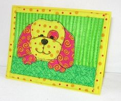 Puppy mug rug Applique Ideas, Applique Patterns, Applique Quilts, Quilt Patterns, Dog Quilts, Animal Quilts, Baby Quilts, Fabric Cards, Fabric Postcards