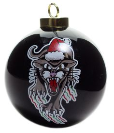 SOURPUSS SANTA CLAWS ORNAMENT - This panther may be prickly, but he's ready to party! Our tattoo-inspired ornament is a great way to add some flash to your Christmas tree this holiday season. The glossy, ceramic, 3