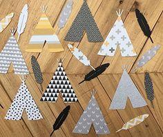 Feather Confetti and TeePee Confetti, Boho Confetti, Table Decor, Tribal Baby Shower, Tribal Decor, die cut cardstock confetti 50 Pieces Set