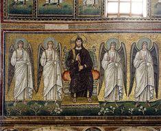 Christ and angels mosaic - Sant'Apollinare Nuovo - Ravenna 2016 - Pintura bizantina - Wikipedia, la enciclopedia libre