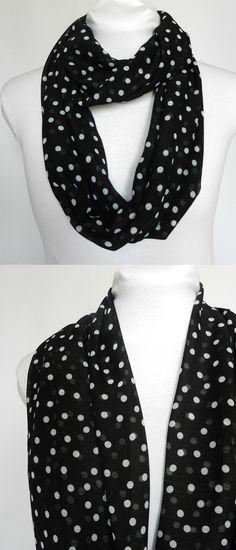 Black and white polka dot infinity scarf/ Lightweight/ Fall scarf/ by Zaleon