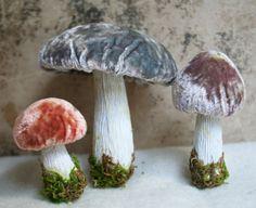 Silk Velvet Mushroom Decorations Set of 3  by juliecollings, $24.75