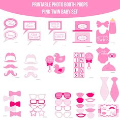 Instant Download Baby Twins Pink Printable Photo Booth Prop Set for $4.99 #onselz www.amandakeyt.com/shop