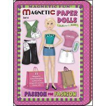 Passion for Fashion Magnetic Paper Dolls Travel Tin by LEE PUBLICATIONS. $11.99. Magnetic Paper Dolls - Passion for Fashion comes with 11 Mix & Match magnetic outfits, shoes and accessories. There are dressing room scenes that can be used with the self-contained magnetic playing surface or on any steel surface. Everything comes in a hinged collectible tin which is perfect for travel.