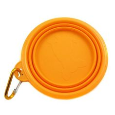 Healthy Diet Rosh Silicone Pet Expandable/Collapsible Travel Bowl with Carabineer for Leash - Size: 1.5 Cups, Color: Orange $8.99
