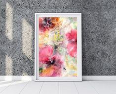Interior floral painting with red poppyWatercolor INSTANT