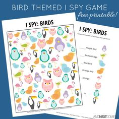 Free printable bird themed I Spy game for kids from And Next Comes L