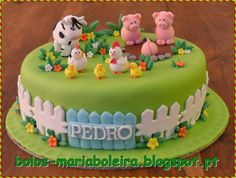 Farm Birthday Cakes, Boys First Birthday Cake, Animal Birthday Cakes, Farm Animal Birthday, Farm Animal Cakes, Farm Cake, Cake Decorating Tips, Ideas, Ombre Cake