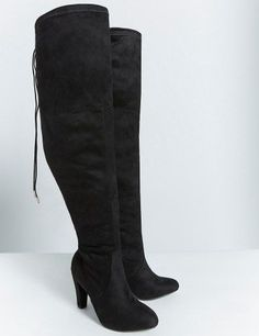 Womens Plus Size Lace-Up Over The Knee Boots Wide Calf Wide Width ...