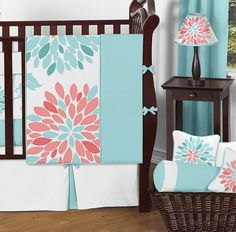 Emma Turquoise and Coral Floral Baby Girls Crib Bedding Set by #sweetjojodesigns
