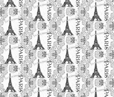 Paris Eiffel Tower and French Scrolls fabric by greerdesign on Spoonflower - custom fabric