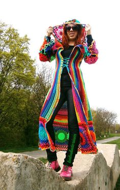 Kaleidocoat - Multicolor Multimotif Striped And Hooded Hippie Crochet Coat by babukatorium, via Flickr