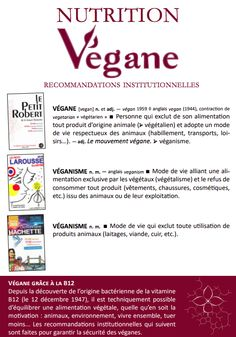 Nutrition végane, recommandations institutionnelles - Fédération végane