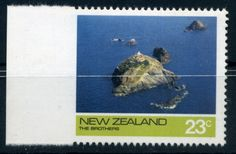 NZ Error 1974 23c The Brothers Island selv single imperf down left, straight selv