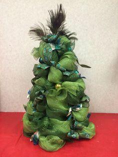 deco mesh peacock ball gown christmas tree on tomato cage - Tomato Cage Christmas Tree With Mesh