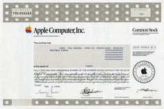 Apple Computer, Inc - Old Certificate Style (Maker of Apple Computer, iPad and iPod) Apple is no longer issuing stock certificates - 1998
