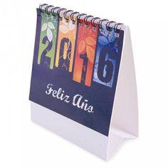 Calendario de sobremesa con anillas y hojas individuales para cada mes. Grabación publicitaria en el pie de página del calendario. Tu publicidad siempre vista.