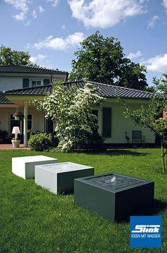 Gartenbrunnen Aluminum Kubus Tisch 80