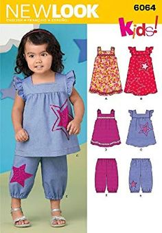 6064 - New Look Patterns. Baby Dress Design, Baby Girl Dress Patterns, Baby Clothes Patterns, Sewing Patterns Girls, Kids Patterns, Little Girl Dresses, Baby Sewing Projects, Sewing For Kids, Toddler Fashion