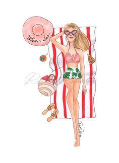 Descarga inmediata Beach rest descarga digital Beach Illustration, Background Drawing, Fashion Illustration Dresses, Girl Clipart, Fashion Wall Art, Fashion Portfolio, Fashion Design Sketches, Fashion Quotes, Cute Drawings