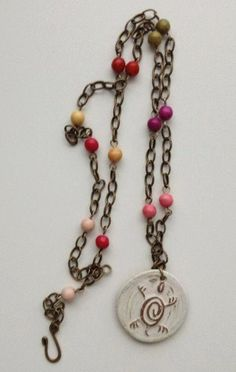 Turtle Ceramic Bead Necklace with 24 inch by lastsummertreasures, $30.00