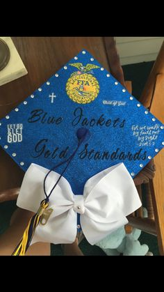"""Blue Jackets, Gold Standards"" -Something I always like to say when referring to the FFA. I absolutely love this! Graduation Cap Designs, Graduation Cap Decoration, High School Graduation, Graduate School, Graduation Hats, Graduation Ideas, Graduation Pictures, Senior Pictures, Grad Pics"