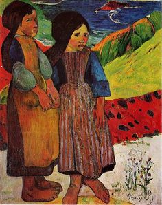Breton Girls by the Sea by Paul Gauguin in oil on canvas, done in Now in a private collection. Find a fine art print of this Paul Gauguin painting. Paul Gauguin, Henri Matisse, Pablo Picasso, Kunst Online, Impressionist Artists, Pierre Auguste Renoir, Oil Painting Reproductions, Western Art, Art Plastique