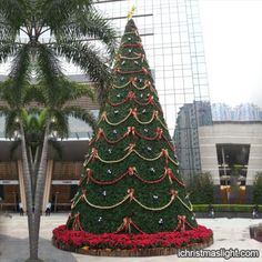 Outdoor decorated big christmas trees