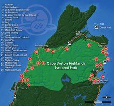 Hiking Trail Map for Cape Breton Highlands National Park - Includes links to descriptions of each trail Cabot Trail, East Coast Travel, East Coast Road Trip, Glasgow, East Coast Canada, Nova Scotia Travel, Hiking Trail Maps, Hiking Trails, Parks Canada