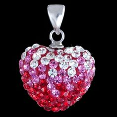 Silver pendant, zirconia, heart Silver pendant, zirconia, Ag 925/1000 - sterling silver. Gleaming exclusive heart completely studded with zircons in three romantic interesting colours. Loop is movable also suitable for thicker necklace chain. Dimensions approx. 16x14x10mm excluded loop.