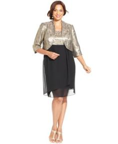 058f67defda Le Bos Plus Size Metallic Brocade Dress and Jacket Women - Dresses - Macy s